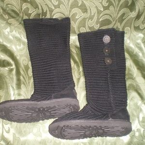 UGG Cable Knit Boots Fold Down Style Sz 7